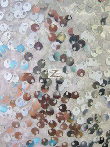 Rain Drop Sequins on Taffeta Fabric Backing Silver on White
