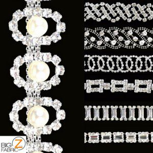 Collage Rhinestone Applique Trims Fabric By The Yard