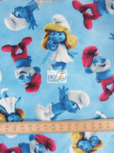 VIP CRANSTON FLEECE FABRIC BY THE YARD SMURFS MOVIE CHARACTERS