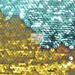 Mermaid Sequins Fabrics By The Yard Aqua Gold