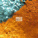 Mermaid Sequins Fabrics By The Yard ORange Turquoise