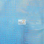 African Crocodile Vinyl Fabric By The Yard Blue Silver