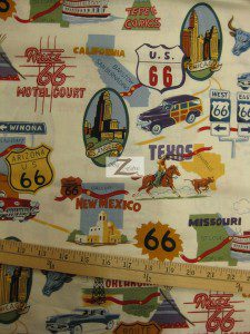 Main Street of America Route 66 Cotton Fabric Off-White