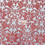 Classic Damask Lace Fabric Red By Yard