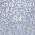 Classic Damask Lace Fabric Silver By Yard