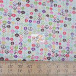 Vintage Peace Sign Michael Miller Cotton Fabric By Yard