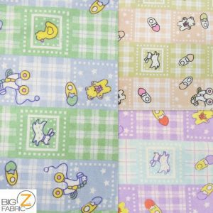 Baby Playtime Print Flannel Fabric By Yard
