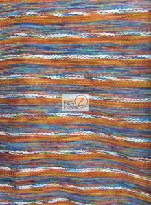 Mexican Poncho State Wool Fabric Rainbow