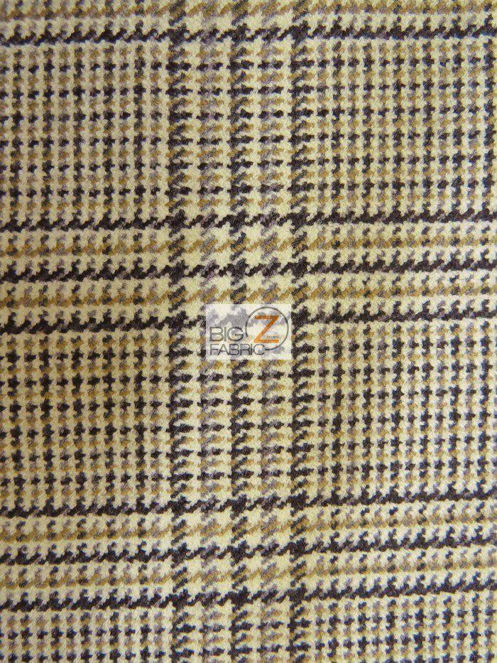 Plaid Jacquard Wool Fabric By The Yard