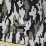 Black Camo Print Fleece Fabric By The Yard