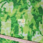 Green Camo Print Fleece Fabric By The Yard