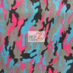 Pink Camo Print Fleece Fabric By The Yard