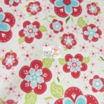 Blooms Riley Blake Cotton Duck Fabric Red By The Yard
