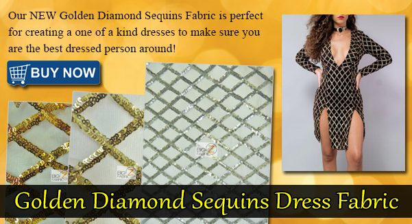 Golden Diamond Sequins Dress Fabric