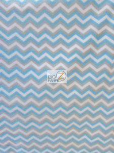 Chevron Fleece Fabric Baby Blue By The Yard