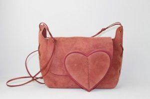 Suede Fabric Heart Shoulder Bag
