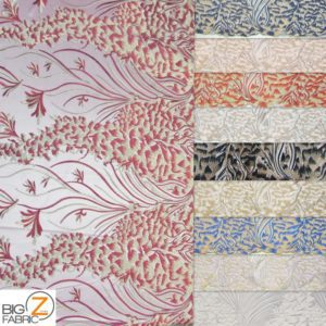 Metallic Ostrich Fern Floral Lace Fabric