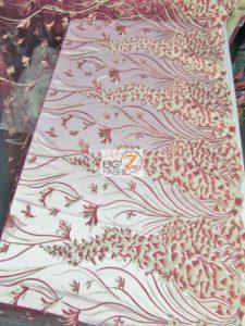 Metallic Ostrich Fern Floral Lace Fabric Design