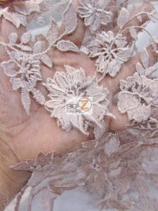 3D Hybrid Floral Lace Mesh Fabric Close Up