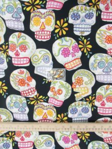 Alexander Henry Cotton Fabric Calaveras Skulls Metallic
