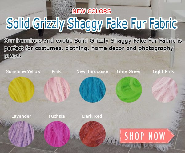 Solid Grizzly Shaggy Fake Fur Fabric