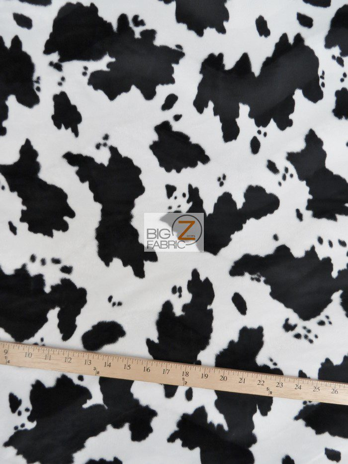 White/Black Cow Velboa Fabric