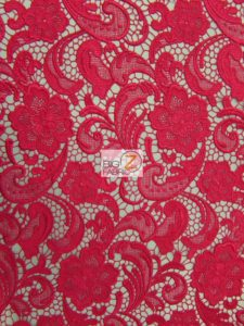 Rose Floral Paisley Guipure Venice Lace Fabric Fuchsia By The Yard