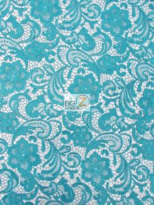 Rose Floral Paisley Guipure Venice Lace Fabric Teal By The Yard