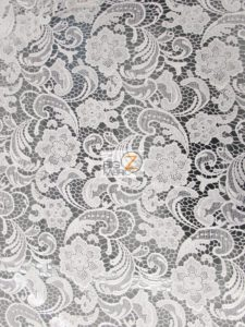 Rose Floral Paisley Guipure Venice Lace Fabric White By The Yard