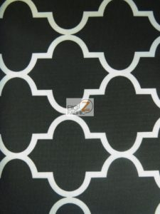 Black Moroccan Quatrefoil Canvas Outdoor Waterproof Fabric