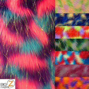 Rainbow Shiny Tinsel Faux Fake Fur Fabric