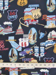 Main Street of America Route 66 Cotton Fabric Black