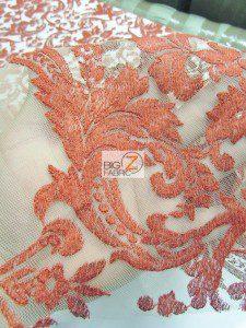 Classic Damask Lace Fabric Close Up