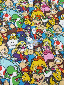 Super Mario Cotton Fabric By The Yard