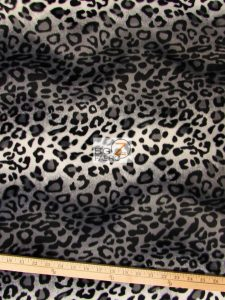 Gray Leopard Velboa Fabric By The Yard