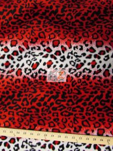 Red Leopard Velboa Fabric By The Yard