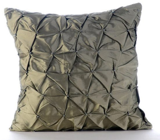 Button Style Taffeta Fabric Cushion
