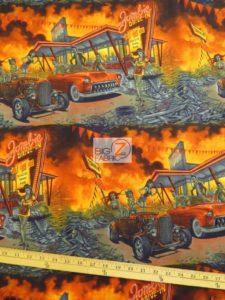 Apocalypse Zombie Drive Cotton Fabric