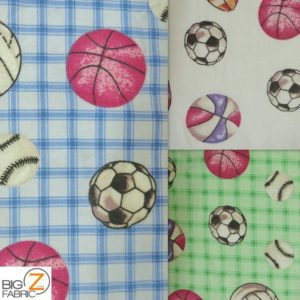 Multi Sports Print Flannel Fabric
