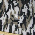 Black Camo Print Fleece Fabric By The Yard