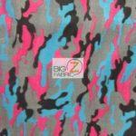 Pink Camo Print Fleece Fabric By The Yard