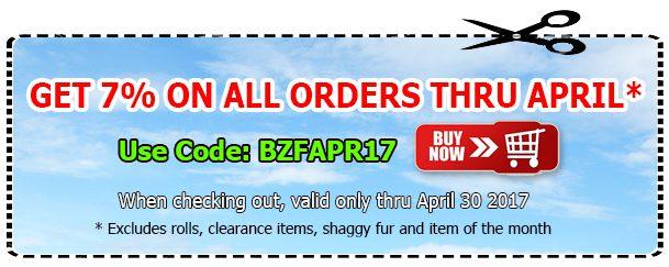 Big Z Fabric April Coupon