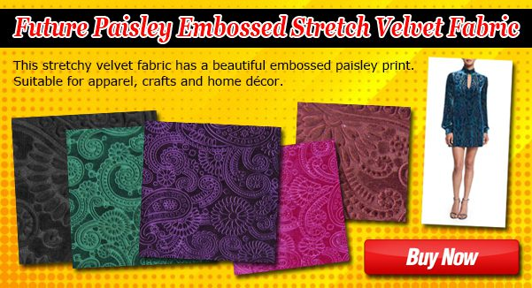 Future Paisley Embossed Stretch Velvet Fabric