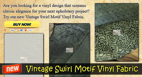 Vintage Swirl Motif Upholstery Vinyl Fabric