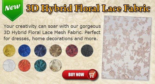 3D Hybrid Floral Lace Mesh Fabric
