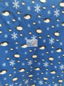 Penguins & Snowflakes Fleece Fabric