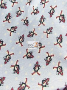 Winter Snowboarding Penguin Fleece Fabric
