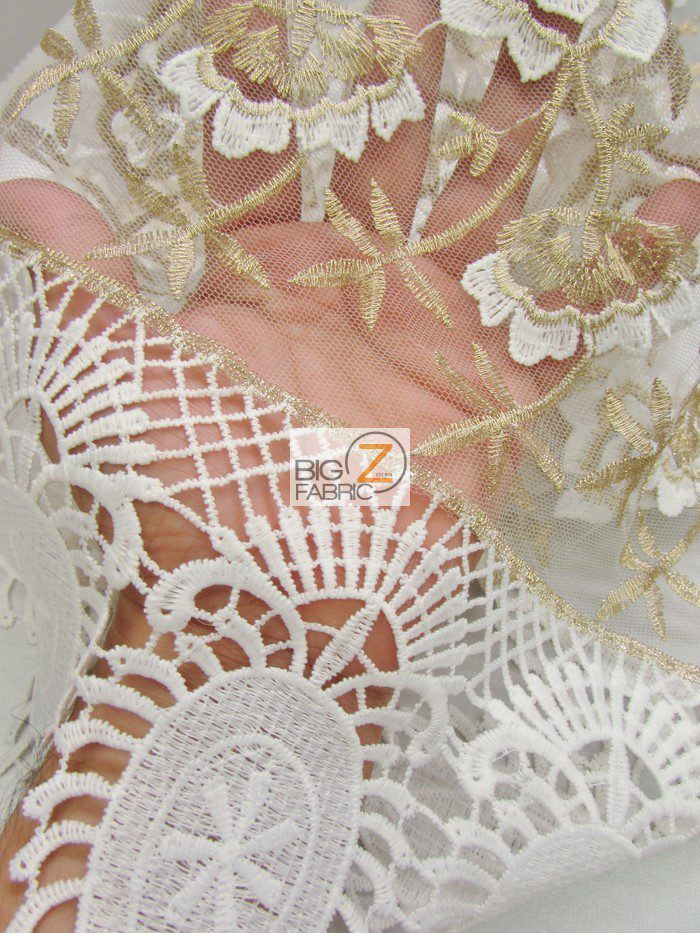 Oasis Starflower Guipure Mesh Lace Fabric Close Up By The Yard