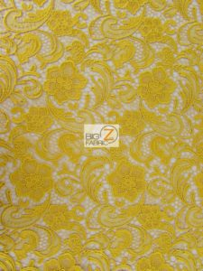 Rose Floral Paisley Guipure Venice Lace Fabric Gold By The Yard