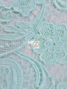 Rose Floral Paisley Guipure Venice Lace Fabric Mint By The Yard